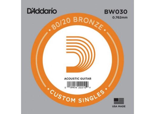 Cordas individuais para guitarra D'Addario BW030 Bronze Wound Acoustic guitar single string .030