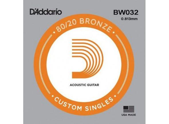 Cordas individuais para guitarra D'Addario 80/20 Bronze Acoustic Single Strings BW032