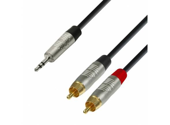 Adam hall K4 YWCC 0090  Cabo de Audio REAN de Minijack 3,5 mm estéreo a 2 RCA macho 0,9 m