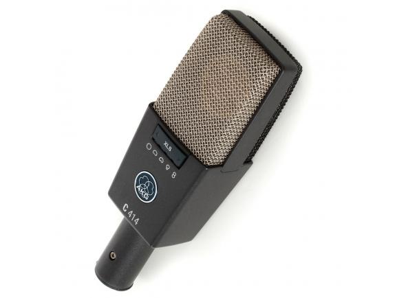 AKG C414 XLS    Grande microfone condensador  Diafragma com padrões 9x polares resposta ( cardióide , grande cardióide , figura de oito , hiper- cardióide , omni 4 padrões mix )  Resposta de frequência : 20Hz - 20kHz  12/06 / 18dB pad  40 /80 / 160Hz filtro oi -pass  140dB SPL máximo  LED espera pico  Modus bloqueio para salvar preferências  Saída transformerless FET XLR  Inclui shockmount H85  Popfilter (PF 80)  Pára-brisas deve ( W414X ) e caixa de alumínio