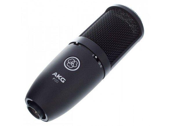 """AKG P120   O P120 é um verdadeiro microfone condensador com diafragma de 2/3"""" que oferece uma qualidade de construção sólida, desempenho excelente e excelente valor. O diafragma de massa baixa fornece um som claro com detalhe sónico preciso para gravações de voz, discurso e instrumentos em estúdios e gravações em casa."""