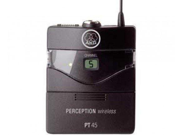 AKG PT45 PW45  Componente sistema sem fiosAKG PT45 PW45 - Transmissor de bolso - Percepção série sem fio - Funciona com bateria 1x AA ou accu - 4 Frequências comutáveis na faixa ISM 863.100 - 864.900 MHz