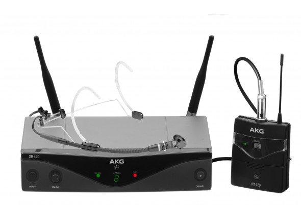 AKG WMS420 Sport Set  Microfone de cabeçaAKG WMS420 Sport Set -Sistema de microfone sem fio bodypack - Receptor SR420 Parado - PT420 bodypack transmitter