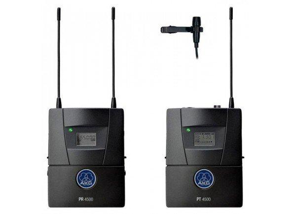 AKG PR 4500 PT Set  Sistema de sem fios com microfone lapelaAKG PR 4500 PT Set -Câmera UHF Sistema sem fio do WMS PR 4500 - Diversidade - Faixa de frequência 720-750 MHz - Configuração automática e Meio Ambiente de digitalização