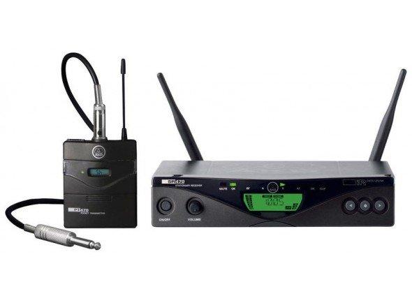AKG WMS470 Instrumental Set  Sistema de sem fios para guitarra e baixoAKG WMS470 Instrumental Set - Sistema UHF sem fio - Verdadeira diversidade - Largura de banda de 30 MHz - Até 8 frequências simultâneas nesta banda