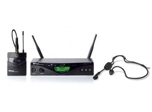 AKG WMS470 Sports Set  Microfone de cabeçaAKG WMS470 Sports Set - Sistema sem fio UHF - Verdadeira diversidade - Largura de banda de 30 MHz - Até 16 frequências simultâneas - Varredura de frequência