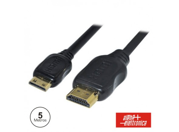 Alpha Elettronica HDMI Dourado Macho / Mini HDMI Macho Preto 5m