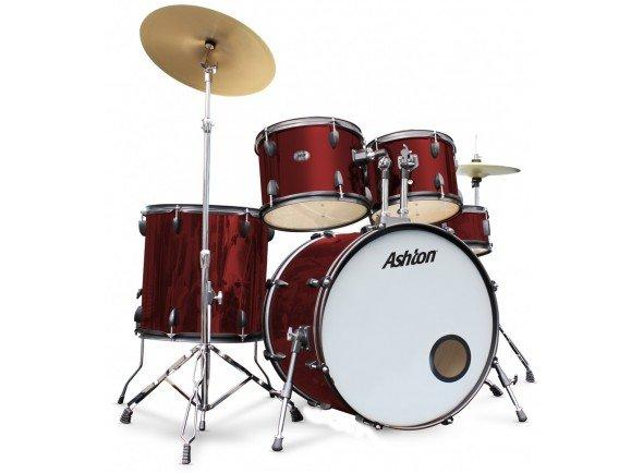 Ashton TDR322R  Inclui set completo, banco, pratos e baquetas. Pronta a tocar!   5 peças: bombo, 3 timbalões, tarola  Hardware: suporte de prato choque, tarola e prato livre, pedal bombo  Inclui Baquetas e Banco