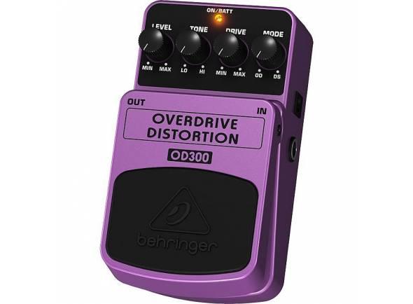 Behringer OD300  Behringer OD300 Guitar Pedal - overdrive / distortion. Controles: nível, tom, unidade, modo. LED de status azul, alimentado por bateria de 9V ou fonte de alimentação opcional