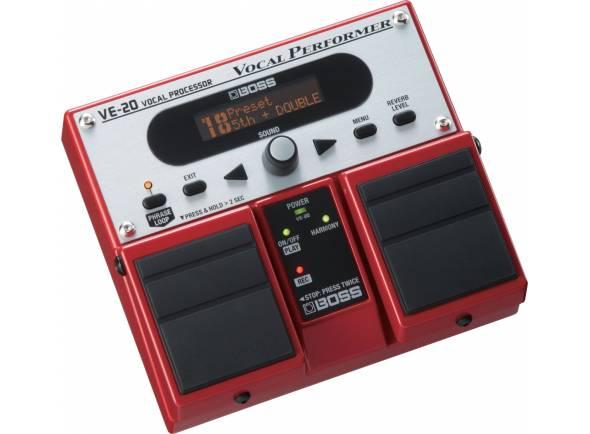 Boss VE-20   Processador Efeitos Boss VE-20 Vocal Performer  Efeitos: Looper < 38s; Dynamic; Pitch Correction; Tone; Harmony; Delay; Reverb  Electrónica: Phantom power  Controladores: 2x Footswitch; Phrase Loop; Reverb Level; Menu  Display: LCD de 16 caracteres, 2 linhas  Memória: 30 Presets de fábrica; 50 Presets de utilizador.