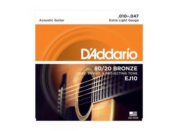 Jogo de cordas .010 D'ADDARIO Jogo Cordas Bronze Guitarra Acústica  EJ10 .010-.047