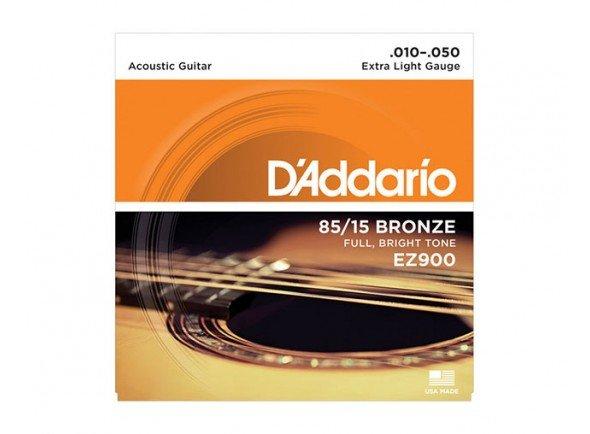 Jogo de cordas .010 D´Addario Jogo Cordas Aço Bronze 010 Guitarra Acústica EZ900 .010-.050