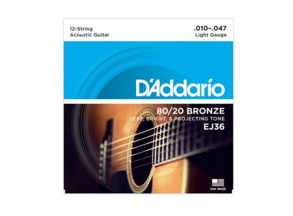 D´Addario Jogo 12 Cordas Guitarra Acústica D'ADDARIO EJ36  Jogo de Cordas de Bronze para Guitarra Acústica D'ADDARIO EJ36