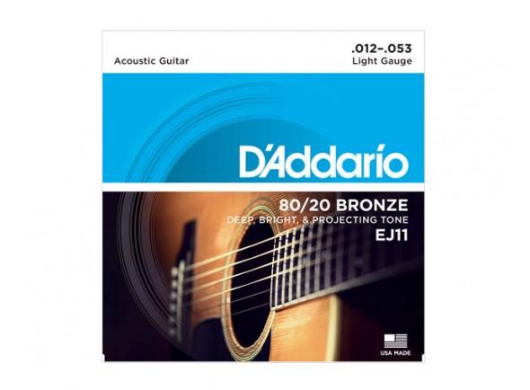 D´Addario Jogo Cordas 012 Guitarra Acústica EJ11 012-053  Jogo de Cordas 012 para Guitarra Acústica Daddario EJ11 012-053