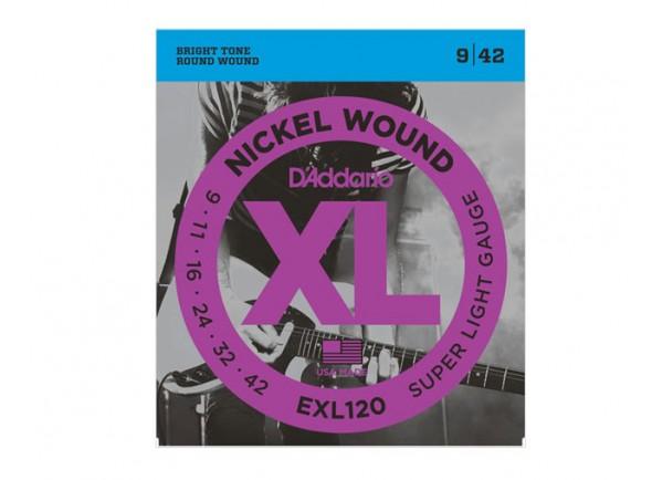Jogo de cordas .009 D´Addario Jogo de Cordas EXL-120 009 para Guitarra Eléctrica .009-.042