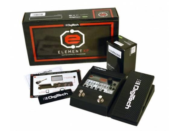 Digitech Element XP  59 Efeitos: 12 ampères, 9 alto-falantes, 38 caixas de stomp  Pedal de expressão integrado  200 Presets: 100 sons de fábrica, 100 memórias de usuário modificáveis  Biblioteca de sons com 40 presets  Biblioteca de efeitos com 40 presets  Sintonizador cromático  45 sons de acompanhamento de bateria  Pedal de metal  Tempo de atraso de até 5 segundos  Saída de saída estéreo  Conector mini-jack estéreo para fones de ouvido  Entrada auxiliar estéreo  Modos Amp / Mixer  Qualidade de som: 24 bits / 44,1 kHz  Dimensões (LxWxH): 15,9 x 20,2 x 5,8 cm  Peso: 645 g  Incl. fonte de energia