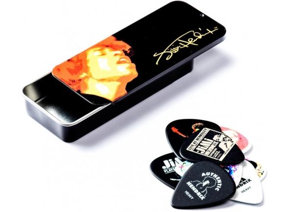 Palhetas para guitarra Dunlop Caixa de Metal com 12 Palhetas Jimi Hendrix JHPT03H
