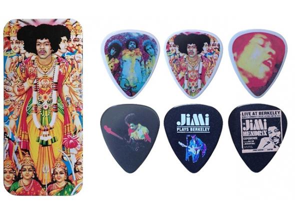 Palhetas para guitarra Dunlop Caixa em Metal com 12 palhetas Jimi Hendrix JHPT02M