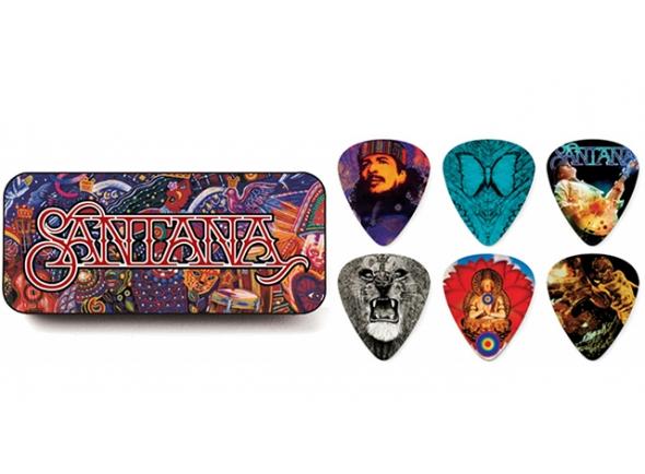 Palhetas para guitarra Dunlop Caixa em metal com 6 palhetas SANTANA SANPT01M