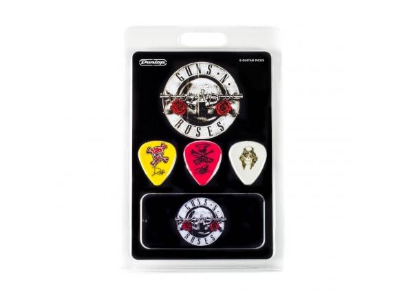 Dunlop GUNS N' ROSES GNR002  O Guns N 'Roses lembrou a todos o que era o rock' n 'roll com seu som hard rock influenciado pelo blues. Este conjunto de capturas inclui a arte personalizada de Axl Rose, Slash e Duff McKagan sobre as picaretas da Dunlop e celebra a sua reunião histórica.