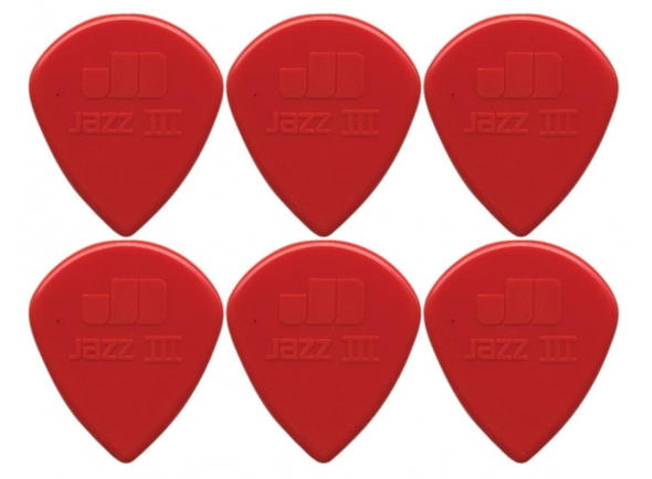 Palhetas para guitarra Dunlop Jazz Plectrums III XL Red 6P
