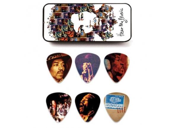 """Dunlop Jimi Hendrix JHPT07M  Dunlop Jimi Hendrix JHPT07M Palhetas com imagens originais de Jimi Hendrix """"hear my music"""". Estas palhetas coleccionáveis apresentam uma variedade de imagens originais de Jimi tocar a música que o tornou famoso.    Caixa com 6 palhetas, espessura média."""