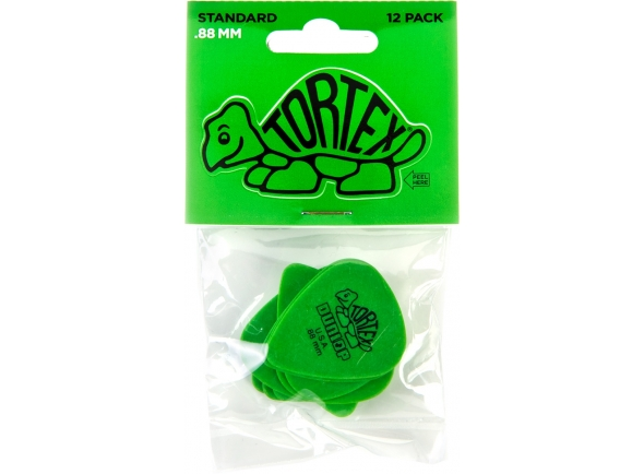 Dunlop Tortex Standard 0,88  Pack de 12 peçasDunlop Tortex Standard 0,88  Tortex Standard 418: feito do material Tortex sempre popular para uma vida longa e um tom brilhante.  A escolha usada pelos melhores músicos do mundo. As palhetas Tortex são cuidadosamente projetadas e fabricadas para proporcionar a característica máxima memória e desgaste mínimo que tornaram a tartaruga original famosa.