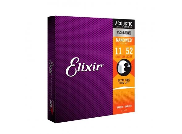 Elixir Jogo de Cordas 011 para Guitarra Acústica Bronze 80/20 Nanoweb 011-052