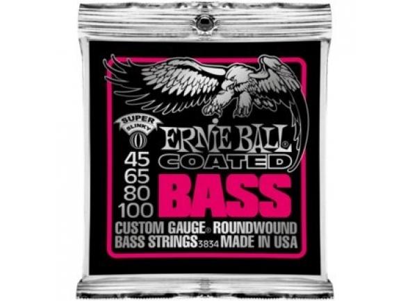 Jogo de cordas .045 para baixo elétrico de 4 cordas Ernie Ball 3834 Coated Bass Super 45-100