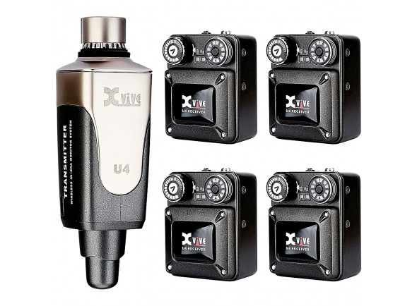 Monitorização in-ear Wireless U4R4 In-Ear Monitor Wireless System Transmitter One and Four Receiver