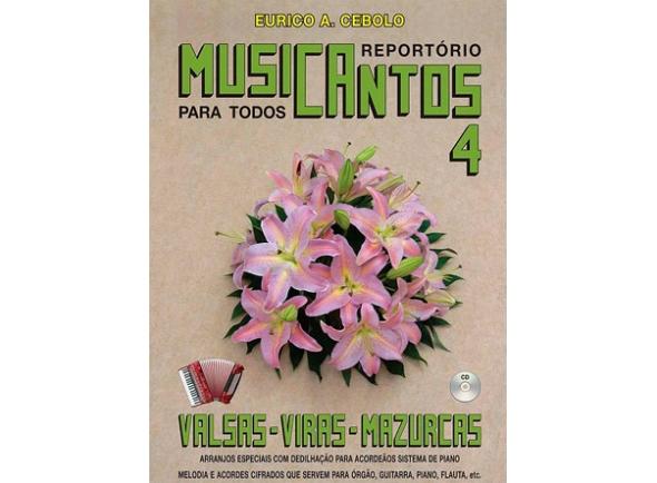 Livros de Acordeão Eurico A. Cebolo Musicantos 4 - Valsas / Viras / Mazurkas