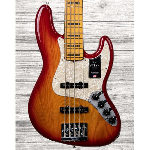 Bajo de 5 cuerdas Fender American Ultra Jazz Bass V - Plasma Red Burst