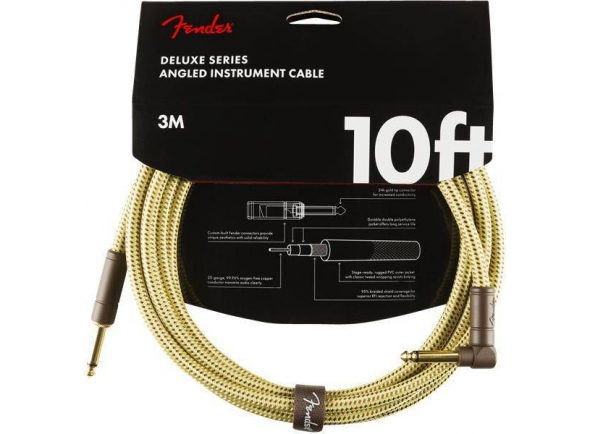 Fender Deluxe Instrument Cable, Straight/Angle, 10', Tweed