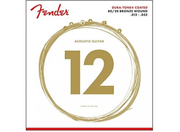 Fender Jogo Cordas 880L 80/20 Coated  Conjunto de 6 cordas de luz para violão da série Dura-Tone, feito com um micro-tratamento especialmente aplicado que resiste à sujeira e à corrosão do matiz de tom. Isso resulta em cinco anos de vida útil mais longa das cordas, sensação natural e tom claro e completo. As cordas são feitas com núcleo de aço e 80/20 de bronze. Calibres: 0,012, 0,016, 0,024, 0,32, 0,042, 0,052.