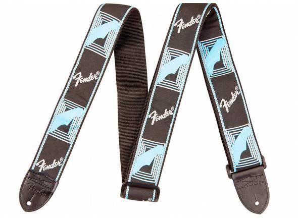 Fender Monogrammed Strap, Black Light Blue Grey Blue