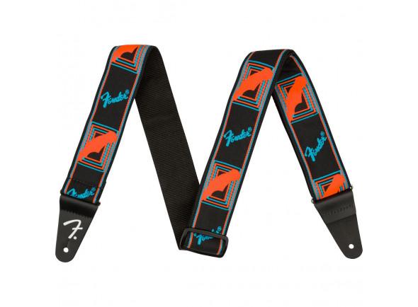 Correia de nylon Fender Neon Monogram Guitar Strap - Blue/Orange
