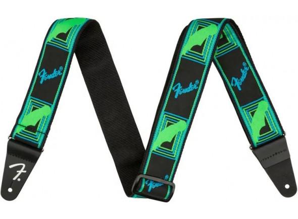 Correia de nylon Fender Neon Monogram Guitar Strap - Green/Blue