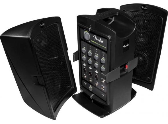 """Fender Passport CONFERENCE   Nome do modelo: Fender Passport CONFERENCE, 120V, Black  Cor: preto   Tipo de amplificador: Class-D    Controlos: controlo de timbre em cada canal, Volume, Master Volume, 20db Pad    Voltagem: 230V    Consumo: 175 Watts    Entradas: 9 - (3 XLR, 5 1/4"""", Uma estéreo 1/8"""")    Jack para auscultadores: 1/8"""" estéreo com controlo de nível    Linha de saída: Uma - (1/8"""" estéreo com controlo de nível)    Jack de coluna: Dois 1/4"""" esquerdo e direito (estéreo)    Canais: Cinco - (3 Mic/Line, Um estéreo 1/4"""" Linha)    Horn Tweeter: Quatro - 2.75"""" HF Tweeters articulados    Material da estrutura: plástico moldado    Asa: Integrada no topo    Painel frontal: alto contraste para alta visibilidade em condições de pouca luz~    Profundidade do amplificador: 10"""" (25.4 cm)    Largura do amplificador: 25"""" (63.5 cm)    Altura do do amplificador: 19"""" (485 mm)    Peso do amplificador: 30 lbs. (13.61 kg)    Coluna: Duas - 5.25"""" Woofers"""