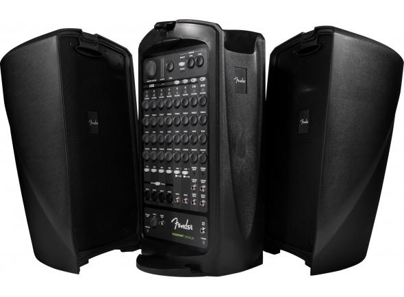 Fender Passport Venue  Fender Passport Venue - Sistema de áudio portátil com uma grande sonoridade   Amplificador (classe D) com 600 Watts de potência (total)  Mixer com 8 canais, sendo: 4 para mic + 2 para linha + 2 stereo  Controles volume, grave, agudo e reverb + controle de Master Volume