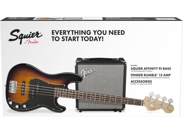 Fender Squier Affinity PJ Bass Pack Brown Sunburst B-Stock   Squier Affinity PJ Bass Brown Sunburst  Amplificador Rumble 15  Cabo de instrumento e Alça de Instrumento
