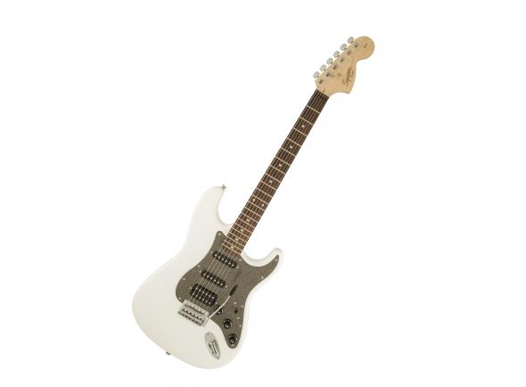 """Fender Squier Affinity Strat HSS OWT RW B-Stock   Guitarra Eléctrica Fender Squier Stratocaster Affinity HSS RW Olympic White  Cor: Olympic White  Material docorpo: Alder  Acabamento do corpo: Poliuretano  Forma do corpo: Stratocaster®  Material do braço: Maple  Acabamento do braço: Poliuretano  Forma dobraço: Forma «C»  Comprimento: 25.5"""" (648mm)  Escala: Rosewood  Raio:9.5"""" (241 mm)  Número de trastes: 21  Tamanho do traste: Medium Jumbo  Pestana: osso sintético  Largura: 1.61"""" (40.9 mm)  Posição Inlays: Dot  Headstock: grande, estilo '60s  Placa do braço: standard 4 parafusos  Pickupda ponte: Humbucking Standard  Pickup do meio: Standard Single-Coil Strat®  Pickup do braço: Standard Single-Coil Strat®  Controlos: Volume Master, Timbre1. (Pickup do braço), timbre 2. (Pickup do meio)  Comutação Pickup: Blade 5posições: Posição 1. Pickup ponte, Posição 2. Pickup ponte e meio, Posição 3. Pickup do meio, Posição 4. Pickup do meio e braço, Posição 5. Pickup do braço  Configuração de Pickup: HSS  Hardware da ponte: Tremolo sincronizado de estilovintage 6-Saddle  Acabamento do hardware: cromado  Tremolo: Standard  Carrilhões: Standard fundidos  Pickguard: 3 camadas, preto  Knobs de Controlo: Plástico branco  Pontas dos selectores: branco  Cordas: Fender® USA 250L, NPS,(espesuras: .009-.042)  Características únicas: Headstock grande do estilo'60s, Partes de plástico branco, Logo serigrafado preto, Dot Inlays"""