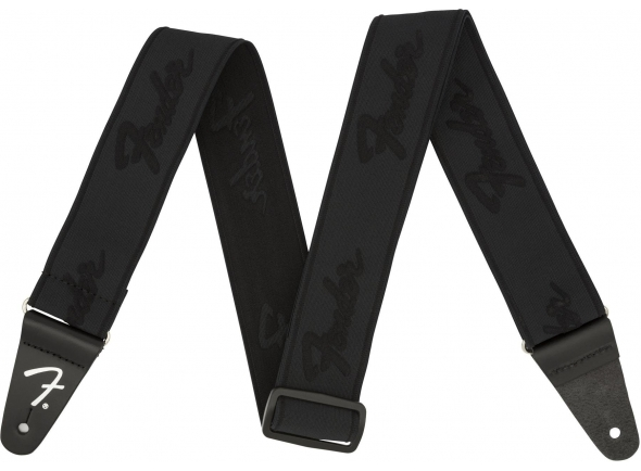 Fender Weightless Running Logo Guitar Strap - Black/Black