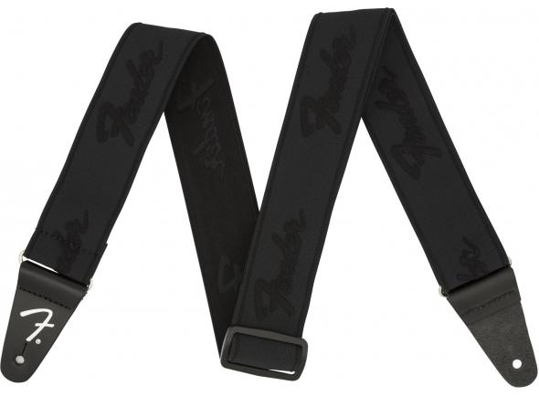 Correia de nylon Fender Weightless Running Logo Guitar Strap - Black/Black