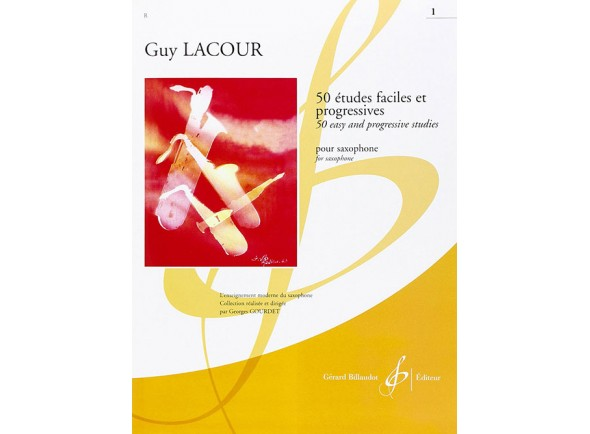 Livros de saxofone Guy Lacour 50 Estudos Fáceis e Pogressivos para Saxofone