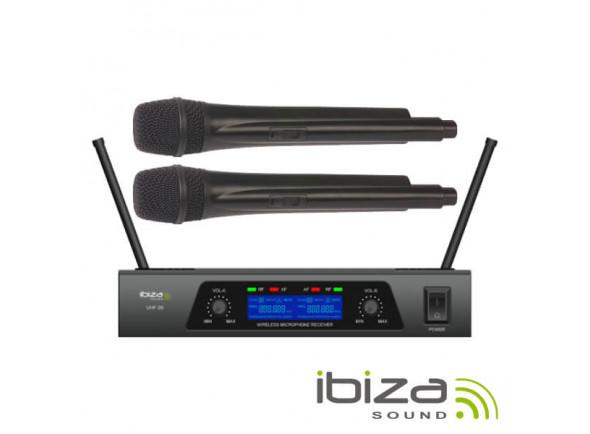 Sistema sem fios com microfone de mão Ibiza Central de Microfones UHF s/ fios c/ 2 Canais B-Stock