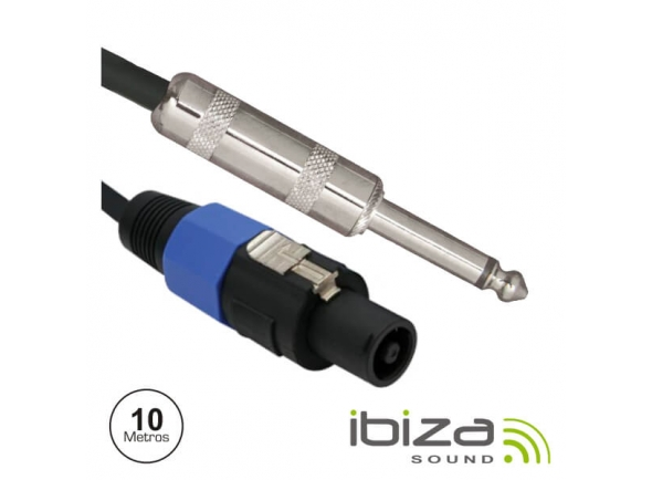 Cabos de coluna Ibiza CS10JS Speakon 2p Macho / Jack 6.35mm Macho 10m Mn