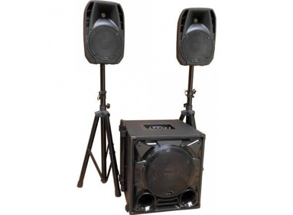 """Ibiza CUBE1100-BT B-Stock  Conjunto de Som Bi-amplificado USB/SD/BT 1100W máx IBIZA CUBE1100-BT   Ibiza CUBE1100-BT  Conjunto de som Bi-Amplificado 1100Wmáx  2 Colunas 8"""" c/ 80Wrms, 150Wmáx (cada)  Leitor MP3 c/ Micro SD, USB e Bluetoot  Subwoofer amplificado c/ 12"""" 400Wmáx  2 Suportes ajustáveis p/ colunas, 2 cabos  Subwoofer: 20Kg, Colunas: 3.5Kg (cada)"""
