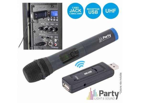 Sistema sem fios com microfone de mão Party Light & Sound WM-USB