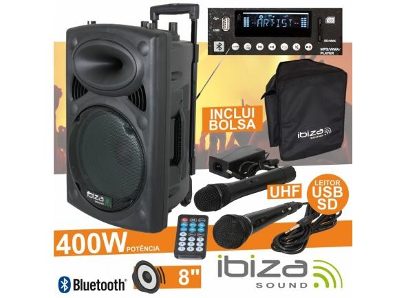"Ibiza PORT8UHF-BT B-Stock   Coluna Amplificada 8"" 200Wrms/400Wmáx  Leitor Multimédia USB / SD / REC e Bluetooth  2 Microfones UHF 863MHz (1 s/fios), comando"