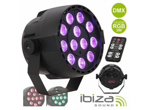 Projector LED PAR Ibiza PROJETOR PAR C/ 12 LEDS RGB 3W ABS COMANDO MIC DMX